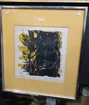 Sale 9069 - Lot 2045 - Artist Unknown Abstract Owl, colour lino cut 88/100, frame: 62 x 52 cm , signed indecipherably lower right -