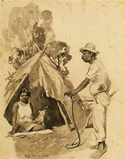 Sale 9094 - Lot 2012 - B. E Minns (1864 - 1937) Husband & Wife at Camp watercolour (AF - foxing), frame: 47 x 39cm, signed -