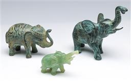 Sale 9093P - Lot 8 - Two Bronze Elephants and a Small Nephrite Example, tallest 13cm.