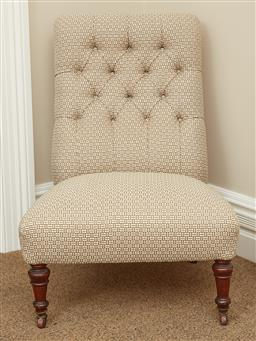 Sale 9108H - Lot 41 - A bedroom chair with button back upholstery raised on timber legs to castors. Height of back 79cm