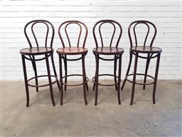 Sale 9108 - Lot 1040 - Set of four timber bentwood barstools (h:111 w:42 d:48cm)