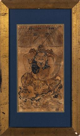 Sale 9190H - Lot 252 - Artist Unknown - Antique Chinese school Fisherman image size 30 x 15.5cm, framed size 47 x 28cm
