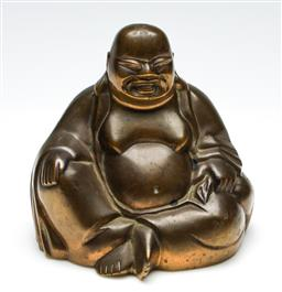 Sale 9255S - Lot 17 - A Chinese heavy bronze happy buddha figure Height 15cm