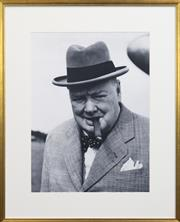 Sale 8261A - Lot 1 - Black and White framed photograph of Winston Churchill, Image 60 x 44cm