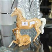 Sale 8336 - Lot 87 - Beswick Horse Figure with a Smaller Example
