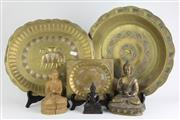 Sale 8384 - Lot 61 - Brass Buddha Figure on a Lotus Base with Other Buddha & Trays