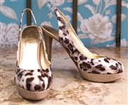 Sale 8474A - Lot 64 - A pair of Guess patent leopard sling back heels, as new, size: 7.5
