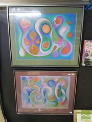 Sale 8544 - Lot 2032 - Alexander Muir (2 works) Abstract, pastel on paper, each 50 x 70cm and signed lower