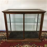 Sale 8649R - Lot 7 - Antique Timber Display Case with Sliding Doors and Two Glass Shelves, Signed G.C. Hawkes ltd. (H: 70cm W: 81cm, small crack to top g...