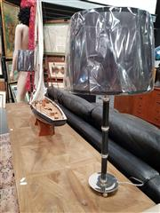 Sale 8688 - Lot 1036 - Pair of UK Chrome & Black Leatherette Table Lamps
