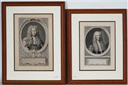 Sale 9004 - Lot 2051 - After J Houbraken (two works) 18th century Gentlemen, antique engravings, frame: 51 x 39 cm and 46 x 37 cm