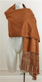 Sale 9081H - Lot 69 - An Alpacca fringed shawl in burnt caramel, (new with tags)