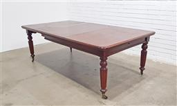 Sale 9126 - Lot 1162 - Victorian Mahogany Extension Dining Table, with three leaves & raised on turned reeded legs (h:72 x w:156 x d:120cm)
