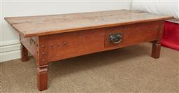 Sale 9108H - Lot 42 - A Chinese timber slab top table with iron hardware and single central drawer Height 45cm x Width 156cm x Depth 72cm