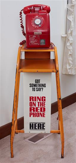 Sale 9103H - Lot 49 - A Big Red Telephone on an orange stand, Total Height 123cm