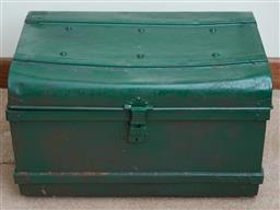 Sale 9103M - Lot 564 - An Anthony Hordern & Sons Ltd green metal storage trunk consisting of antiquity related books and magazines, trunk size Height 44cm...