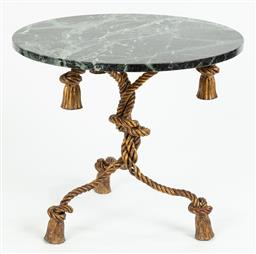 Sale 9099 - Lot 56 - A green marbled topped occasional table raised on gilt tripod rope effect support, Height 54cm Diameter 60cm