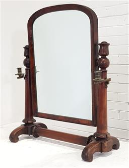 Sale 9162 - Lot 1054 - William IV Mahogany Toilet Mirror, the arched top cross-banded mirror with folding brass sconces, on turned supports & scrolled feet...