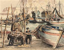 Sale 9244 - Lot 580 - CEDRIC EMANUEL (1906 - 1995) Fishermans Corner, Bay of Naples, 1952 watercolour 35 x 45 cm (frame: 65 x 75 x 3 cm) signed and dated...