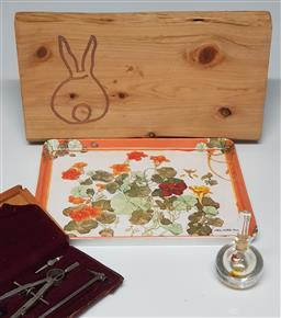 Sale 9254 - Lot 2276 - Collection of Sundries incl. Chopping Board, Tray, Vintage Cased Compass & Orrefors Perfume Bottle