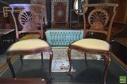 Sale 8255 - Lot 1095A - Pair of Late Victorian Inlaid Mahogany Chairs, with pierced fan shaped backs & cabriole legs