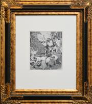 Sale 8309A - Lot 7 - Norman Lindsay (1879 - 1969) - The Picnic Gods 26 x 21cm