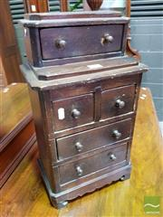 Sale 8485 - Lot 1014 - Early Pine Miniature or Apprentice Chest of Five Drawers, with recessed top section