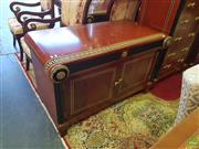 Sale 8566 - Lot 1424 - Inlaid 2 Door Credenza with Ebonised and Gilt Trim