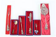 Sale 8827D - Lot 43 - Group of German Silver Spoons, Some Depicting the Rose of Hildesheim