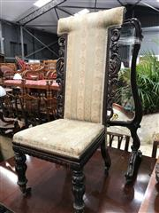 Sale 8848 - Lot 1059 - Victorian Prie-Dieu Style Carved Rosewood Chair, the T back with scroll carved sides, striped upholstery & turned legs