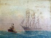 Sale 8859A - Lot 5033 - Frederick Elliot (1864 - 1949) - Clipper Ship and Tug 28 x 39cm