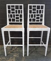 Sale 8962 - Lot 1028 - Pair of Bamboo Form Barstools in White (H:124cm)