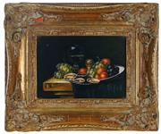 Sale 8998 - Lot 2007 - J.L Jensen Still Life with Oysters & Grapes, oil on board, frame: 24 x 28 x 4 cm, signed lower left