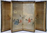 Sale 9003C - Lot 646 - Japanese Six Panel Handpainted Arashiyama Folding Screen by Roki Ohe depicting Villagers Foraging (some small losses) (W: 260 x H: 94