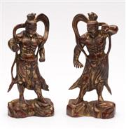 Sale 9049 - Lot 9 - Chinese Pair of Cast metal Muscled Men (H: 18cm)