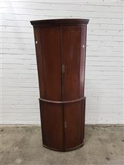 Sale 9068 - Lot 1040 - Tall George III Mahogany Bow Fronted Corner Cabinet, with four arched panel doors, enclosing a white painted interior (H:185 x W:69...