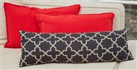 Sale 9090H - Lot 83 - Two red linen cushions and a blue example. Largest 52cm x 32cm