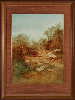 Sale 9097H - Lot 89 - Norman Robins - The Escarpment with figures signed lower right