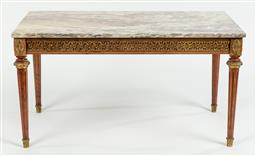 Sale 9099 - Lot 235 - A marble topped rectangular coffee table, Height 49cm x Width 90cm x Depth 40cm