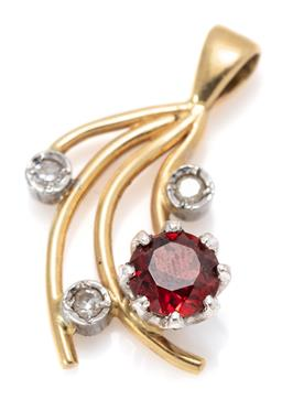 Sale 9164J - Lot 405 - A 15CT TWO TONE GOLD GEMSET PENDANT; claw set in white gold with a round cut garnet and 3 collet set single cut diamonds, size 22 x...
