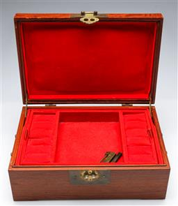 Sale 9164 - Lot 260 - A rosewood Chinese fitted jewellery box (L 31cm D 20cm H 13cm)