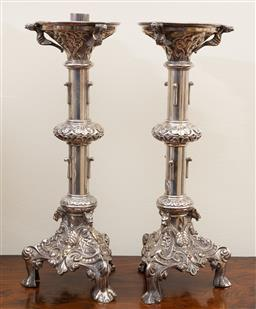 Sale 9190W - Lot 74 - A fine pair of silverplated candlesticks. Height 40cm