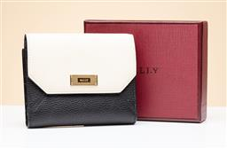 Sale 9253J - Lot 350 - A BALLY BLACK AND CREAM LEATHER LOREL SUZY WALLET; black grained calf leather with cream fold over flap front with gold tone Bally p...
