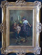 Sale 8881H - Lot 30 - Early 20th century Continental interior study - Interior scene with couple, child and chickens 45 x 30cm