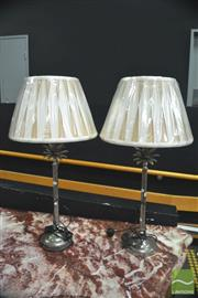 Sale 8328 - Lot 1004 - Pair of Metal Palm Table Lamps