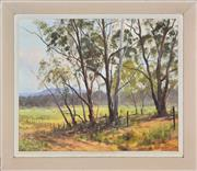 Sale 8394 - Lot 507 - John Emmett (1927 - ) - Summer Stillness (Gum Tress in Megalong Valley) 36.5 x 44.5cm