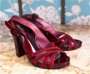 Sale 8474A - Lot 66 - A pair of Mollini burgundy leather & suede sling backs in very good condition, size: 37