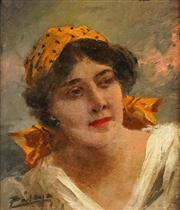 Sale 8583A - Lot 5017 - Carolus Pallya (1875 - 1950) - Portrait of Gypsy Woman 14 x 12cm