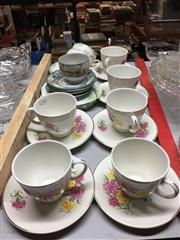 Sale 8659 - Lot 2242 - Set of 6 Floral Duos Together with Other Saucers and Cups