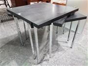 Sale 8746 - Lot 1027 - Three Kartell Square Black Top Side Tables, on steel bases (tops loose/ faulty)
